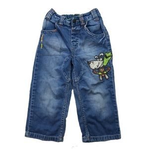 Next Denim Jeans Super Dog Print Boy Sz 2-3 Years
